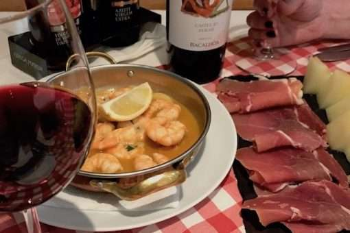 garlic shrimp ham and melon with wine lisbon portugal